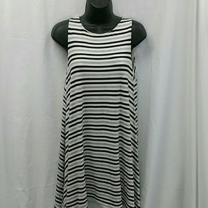 Gray white and black stripped dress
